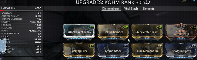 Warframe screenshot build kohm dismemberer.png