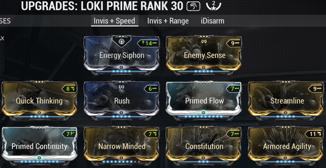 Warframe screenshot build loki invisibility+speed.png