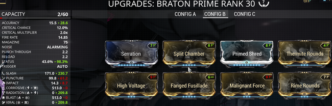 Warframe screenshot build braton prime slash viral.png
